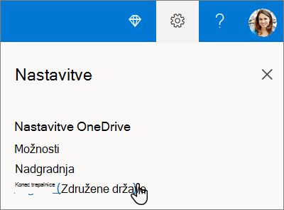Nastavitve storitve OneDrive za izbiro jezika