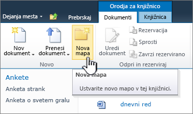 Trak z dokumenti programa SharePoint 2010 z označeno možnostjo »Nova mapa«