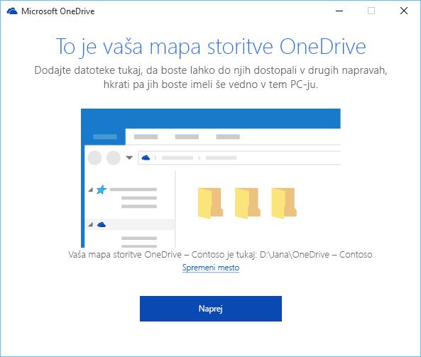 Posnetek zaslona, na katerem je prikazana stran »To je vaša mapa storitve OneDrive« v čarovniku »Dobrodošli v storitvi OneDrive«