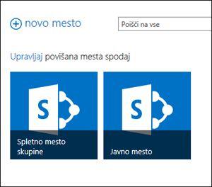 Stran spletnih mest Office 365, ki prikazuje ploščici za »Mesto skupine« in »Javno spletno mesto«