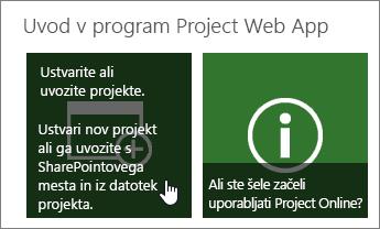 Ustvarjanje ali uvoz projektov