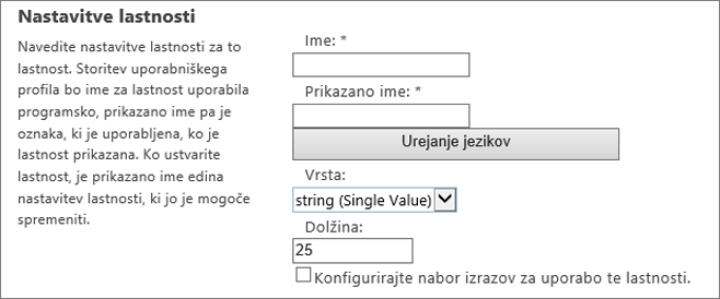 Nastavitve lastnosti pod uporabniškim profilom skrbnika
