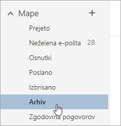 Posnetek zaslona mape »Arhiv«