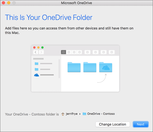 Posnetek zaslona, na kateri je prikazana stran »To je vaša mapa storitve OneDrive«, ko izberete mapo v čarovniku »Dobrodošli v storitvi OneDrive« v računalniku Mac