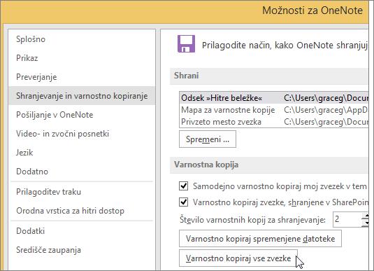 Posnetek zaslona pogovornega okna »OneNotove možnosti« v programu OneNote 2016.
