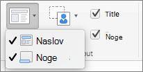 Posnetek zaslona prikazuje možnosti naslova in nog, ki so na voljo v skupini Postavitev matrice.
