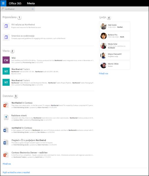 Rezultati iskanja na SharePointovi domači strani