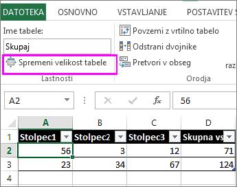 uporaba možnosti spreminjanja velikosti tabele v možnosti »Orodja za tabele«