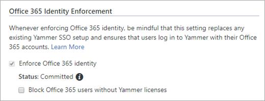 Posnetek zaslona, na katerem je prikazano potrditveno polje »Blokiraj uporabnike storitve  Office 365, ki nimajo brez licenc za Yammer« v varnostnih nastavitvah storitve Yammer