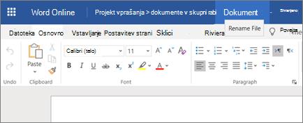 Kliknite naslovno vrstico, če želite spremeniti ime dokumenta v storitvi Word Online