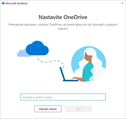 Posnetek zaslona prvega zaslona namestitve storitve OneDrive