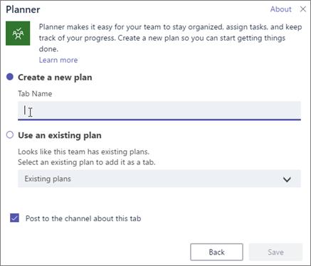 Posnetek zaslona pogovornega okna »Zavihek aplikacije Planner« v aplikaciji Teams