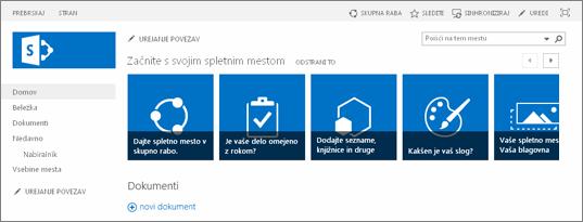 Posnetek zaslona spletnega mesta programa SharePoint 2013