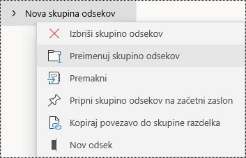 Preimenovanje skupin odsekov v aplikaciji OneNote za Windows 10