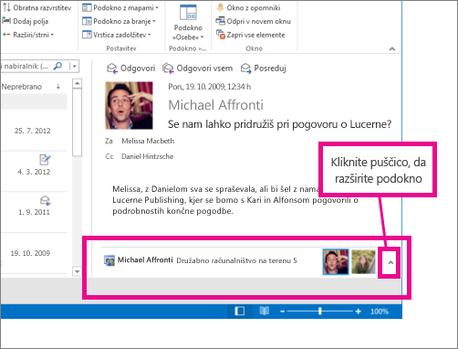 Outlook Social Connector je privzeto minimiziran