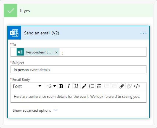 Dodajanje oseb, vrstica z zadevo in telo besedila v e-poštnem sporočilu kot dejanje v Dodatku Power Avtomatizirajte