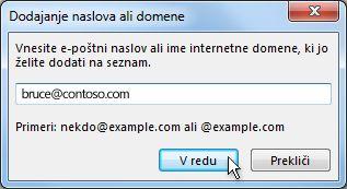 Dodaj pogovorno okno za naslov ali domeno