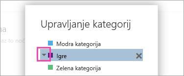 Posnetek zaslona puščico ob možnosti kategorije