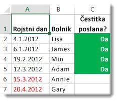 Vzorec pogojnega oblikovanja v Excelu