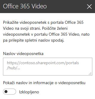 Posnetek zaslona s pogovornim oknom za naslov videoposnetka v storitvi Office 365 v SharePointu.