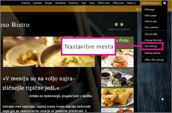 V graditelju spletnega mesta na mestu GoDaddy izberite »Site settings« (Nastavitve mesta).