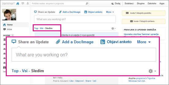 Posnetek zaslona spletnega mesta storitve Yammer, na katerem je z rožnatim kvadratom označena tipka za preklop pogleda »Najpomembnejše«, »Vse« in »Spremljano«