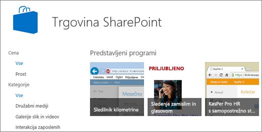 Pogled izbire aplikacije v Trgovini SharePoint