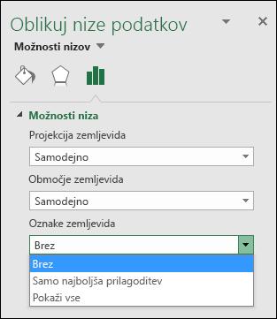 Excelov grafikon z zemljevidom  - možnosti oznak