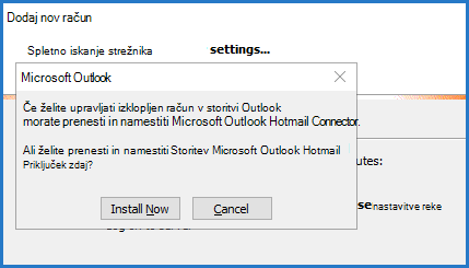 Poziv za Hotmailov priključek za Outlook