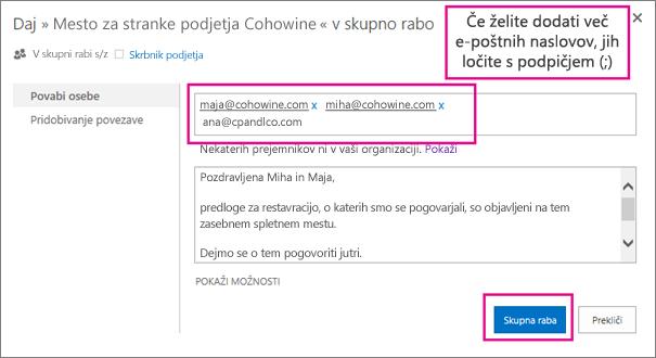 Vnesite e-poštne naslove strank, ki jim želite poslati povabilo za dostop do podmesta.