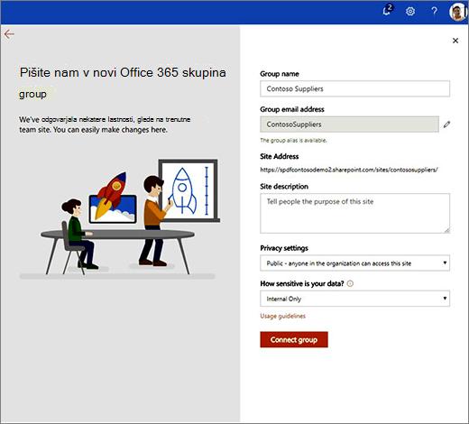 To je stran lastnosti novi skupini Office 365.