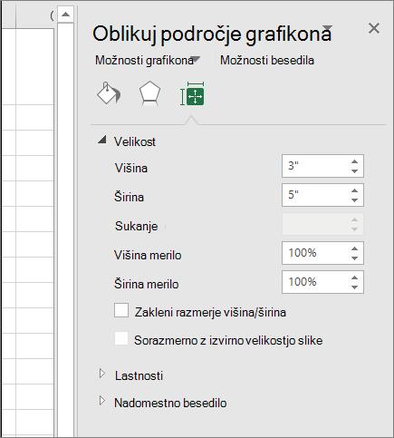 Prilagodite velikost grafikona v pogovornem oknu oblikovanje območja grafikona