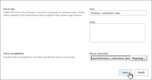 Pogovorno okno z vnesenim imenom nove aplikacije in lokacijo datoteke, označena možnost za uvoz