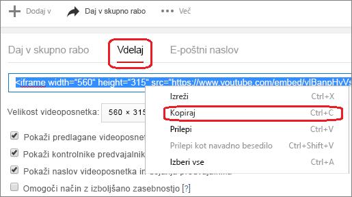 Kopiranje vdelane kode iFrame