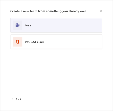 Ustvarjanje skupine iz obstoječe skupine v aplikaciji Microsoft Teams