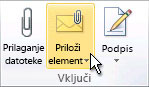 Ukaz Priloži element na traku