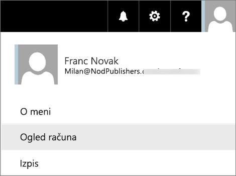 Uporabniški meni z izbrano možnostjo »Ogled računa«.