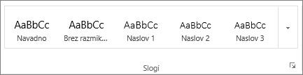 Posnetek zaslona skupine »Slogi« na zavihku »Osnovno« s prikazom slogov, na primer Naslov 1, Naslov 2 in Naslov 3.