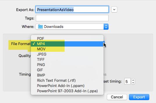 Naročniki paketa storitve Office 365 lahko izvozite predstavitve v videoposnetek MP4 ali MOV datoteki