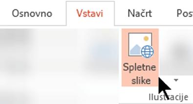Na traku orodne vrstice izberite »Vstavi«, nato pa izberite »Spletne slike«