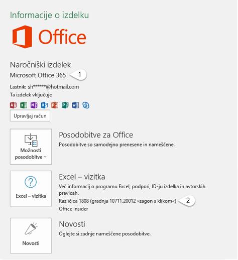 Stran računa, ki vključuje informacije o uporabniku in izdelku