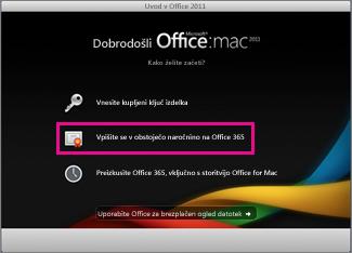 Stran za namestitev sistema Office for Mac, kjer se vpišete v obstoječo naročnino na Office 365.