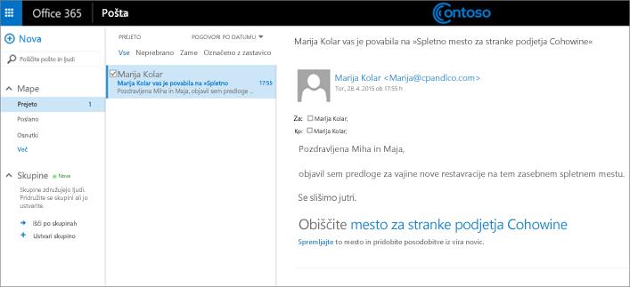Vzorčno e-poštno sporočilo s povabilom strankam, naj začnejo dostopati do podmesta stranke.