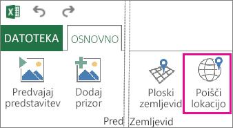 Gumb »Poišči lokacijo« na zavihku »Osnovno« funkcije Power Map