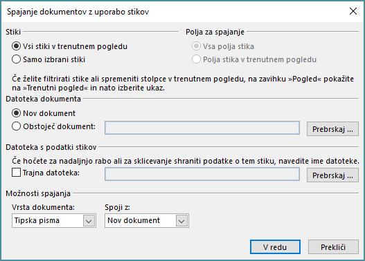 Na zavihku »Osnovno« mape »Stiki« kliknite »Spajanje dokumentov«, da začnete spajanje dokumentov