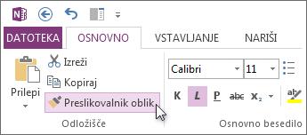 Kopiranje oblikovanja besedil s preslikovalnikom oblik.