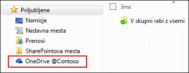 Sinhronizirana knjižnica iz storitve OneDrive za podjetja med priljubljenimi v sistemu Windows