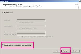 Uporaba ročne nastavitve v programu Outlook 2013