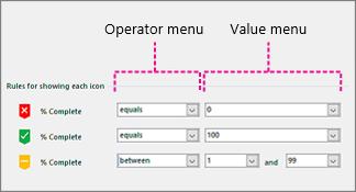 Menija »Operator« in »Vrednost«