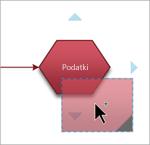 Povlecite in pridržite obliko nad obliko, s katero želite vzpostaviti povezavo.